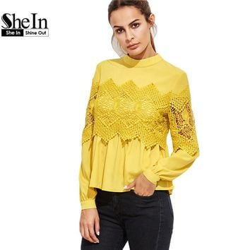 SheIn Women Blouses and Tops Yellow Embroidered Tunic Band Collar Lace Applique Babydoll Long Sleeve Vintage Blouse