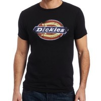 Dickies Men's Distressed Logo Tee, Black, Medium