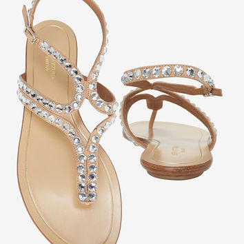 Aquazzura Crystal Flat Sandal at INTERMIX | Shop Now | Shop IntermixOnline.com