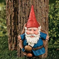 Tree Gnome Figurine Garden Outdoor Statue Plaque Lawn Yard Art Decor