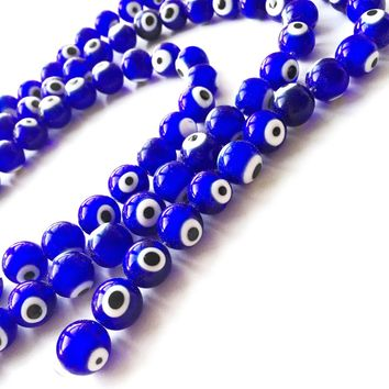 12mm Blue Glass Evil Eye Beads - 10mm Evil Eye Beads - 12mm glass beads