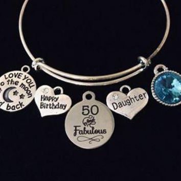 Happy 50th Birthday Daughter Adjustable Charm Bracelet Expandable Silver Bangle One Size Fits All Gift