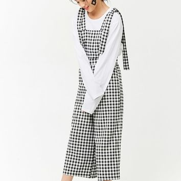 Gingham Tie-Strap Overalls