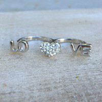 Sparkling 2 Finger Love Ring [3915] - $12.00 : Vintage Inspired Clothing & Affordable Fall Frocks, deloom | Modern. Vintage. Crafted.