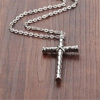Mens Womens Old Silver Hademade Cross Pendant Necklace + Gift Box