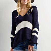 Hi Low Striped Sweater - Navy/White