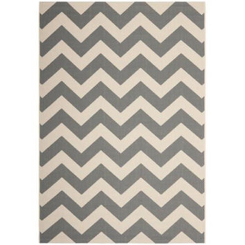 Safavieh  Courtyard Chevron Grey/ Beige Indoor/ Outdoor Rug (9' x 12')
