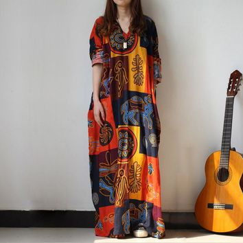 Printed Caftan Maxi Dress