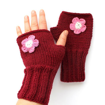Autumn Trend / Hand Knit Fingerless Gloves / Medium size fits most . Crochet Flowers / Claret red / Winter Fashion/ Arm Warmes