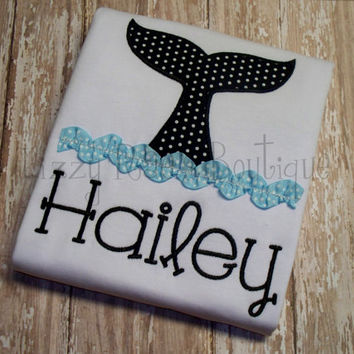 "Whale tail applique shirt- Free 4"" Boutique Bow With Purchase- Summer applique shirt- Beach applique shirt"