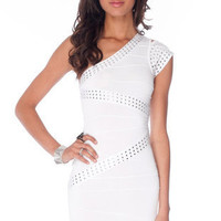 Stud-y Buddy Bandage Dress in White :: tobi