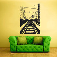 Wall  Decal Vinyl Sticker  Decor Art Bedroom Design Mural Train picture City Tram Town Modern  (z1991)