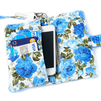 IPHONE WALLET Vintage Flower PURSE iPhone Case Card Holder Fabric Floral iPhone Sleeve Cell Phone Wallet Smart Phone Wallet iPhone Pouch Bag