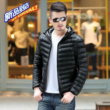 Men's Ultra Light Packable Down Jackets Hooded Slim Down Coats Man White Duck Down Padded Parkas Winter Puffer Jacket JK-618