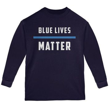 DCCKU3R Police Blue Lives Matter Thin Blue Line Youth Long Sleeve T Shirt