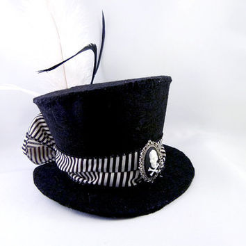 Black and White Stripe Skull Cameo Mini Top Hat by angelyques