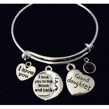 Granddaughter I Love You to the Moon and Back Adjustable Bracelet Expandable Silver Wire Bangle Gift Trendy