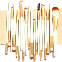 20 Pcs Makeup Brushes White  Color