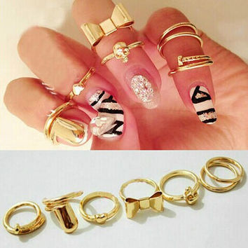 Unique 6 Pcs Nail Rings Tail Ring AnaeCadeau Gift-216