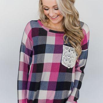Checkered Pullover Pocket Top- Pink, Black, Navy