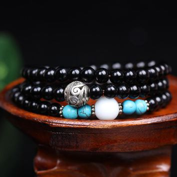 Fashion 6mm Compose Black carnelian  Beads Tibetan Buddhist 108 Prayer Beads Necklace Gourd mala Prayer Bracelet for Meditation
