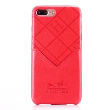 Hermes New fashion leather case couple protective cover phone case Red