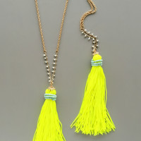 Bright Yellow Neon Tassel Necklace