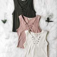 Lara Lace Up Tank (Dusty Mauve, Olive, Soft White)