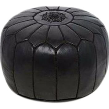 Moroccan Leather Pouf Ottoman with Embroidery in Black (Kajal) Tie