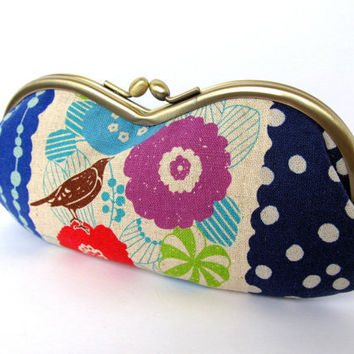 Glasses case Indigo Turquoise blue Lime green Bird Flowers Japanese fabric Sunglass case Soft eyeglass case