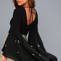 Spaced Out Black Rhinestone Flounce Sleeve Bodysuit