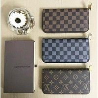 LV Louis Vuitton Classic Women Men Retro Zipper Leather Wallet Purse
