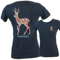 Browning Women's Organic Deer Navy Classic Short Sleeve T-Shirt