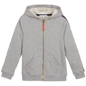 Girls Grey Zip-Up Logo Strip Hoodie