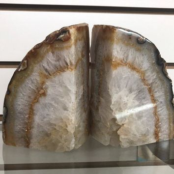 Agate Geode Bookends from Brazil | All Natural Agate Crystal Geode | Book Ends Geodes