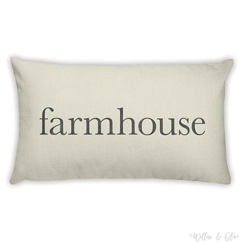 Decorative Lumbar Throw Pillow - Farmhouse