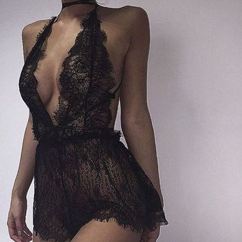 Sexy Lace Backless Bodysuit Chantilly Lace Plunge Teddy Bridal Boutique Playsuit Women's One Piece Lingerie
