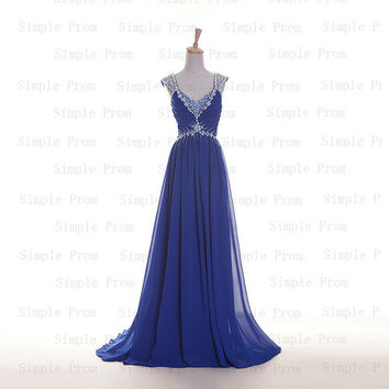 Custom A-line V-neck Sweep Train Sleeveless Chiffon Beading Fashion Prom Dress Bridesmaid Dress Formal Evening Dress Party Dress 2013
