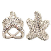 Silver Metal Rhinestone Starfish Ring - Unique Vintage - Cocktail, Pinup, Holiday & Prom Dresses.