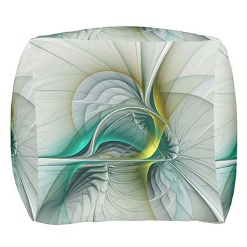 Fractal Evolution, Golden Turquoise Abstract Art Pouf