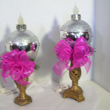 Retro Christmas Lighted Ornaments Holiday Balls Select From Pink// Blue  Mantel Shelf Table Top Decor