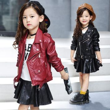 Trendy 2018 New Spring kids jacket PU Leather Girls jackets Clothes children outwear For Baby Girls Boys clothing coats costume 4-16 Y AT_94_13