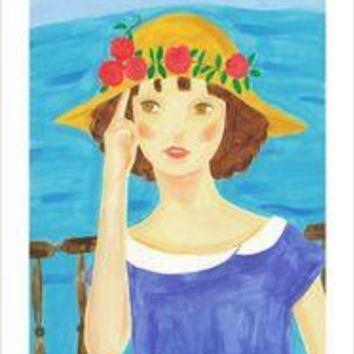 A Girl with a Straw Hat Who Stands By the Sea
