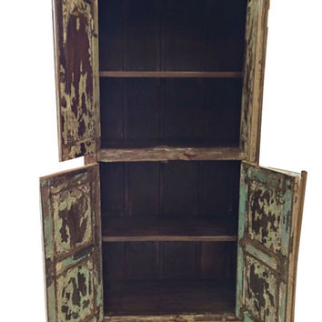 Mogul Inspired Vintage Shabby Chic  Armoire Rustic Storage Wooden Furniture