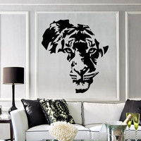 Vinyl Decal Tiger Animal Africa Map Kids Room Wall Stickers Decor Mural (ig2711)