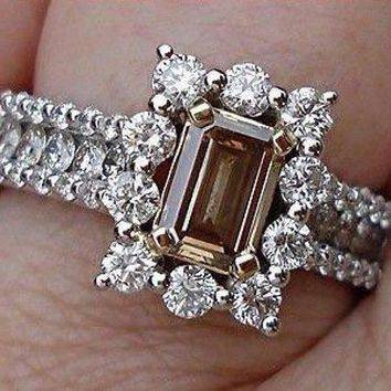 Emerald Cut Diamond - Natural Brown Color Argyle Mine Halo Engagement Ring 14K by Luxinelle® Jewelry