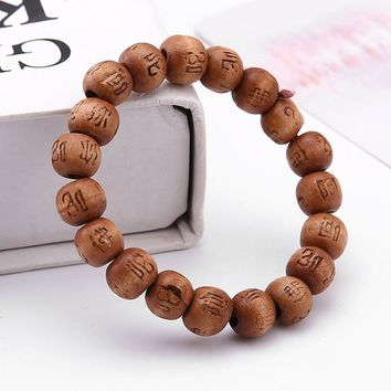 Wood Beaded Buddha Bracelet