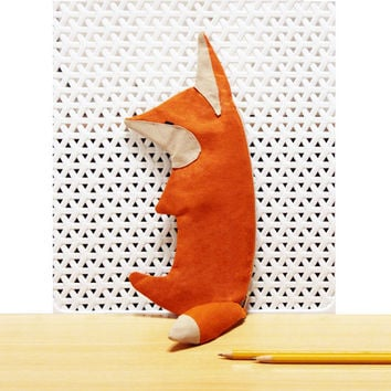 Red Fox Pencil Case - Zipper Pouch - Cute Make up bag - Original design Organic Pencil holder - Stylized animal bag - Woodland - Organizer