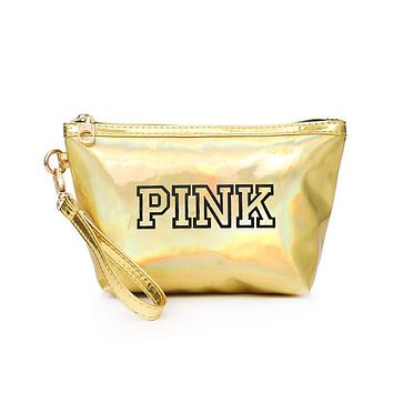Victoria's Secret Pink New Fashion Women Laser Reflective Zero Wallet Handbag Cosmetic Bag Yellow I13250-1