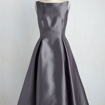 Careful What You Lavish For Midi Dress in Steel | Mod Retro Vintage Dresses | ModCloth.com